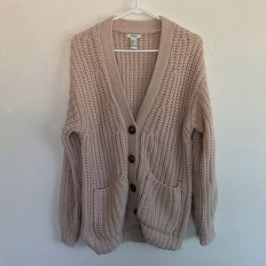 Forever 21 Light Pink Chunky Button Down Cardigan